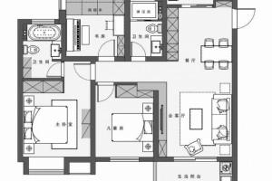 110㎡现代主义3室2厅电视背景墙还能这样设计
