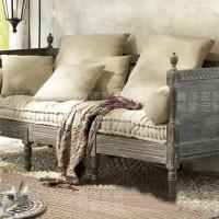 定制\n            美式乡村复古做旧沙发高端客厅实木雕花布艺沙发法式橡木框架沙发